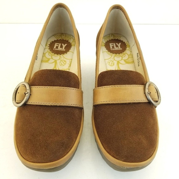 d22afb795d5 Fly London Shoes - FLY London Suede Wedge Loafers Womans YOND CAMEL